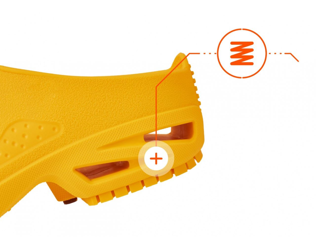 Yellow clogs with shock absorption