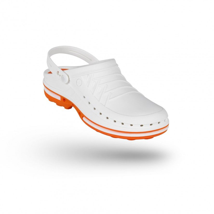 WOCK White/Orange Theatre Clogs - Men and Women CLOG 01 w/ strap
