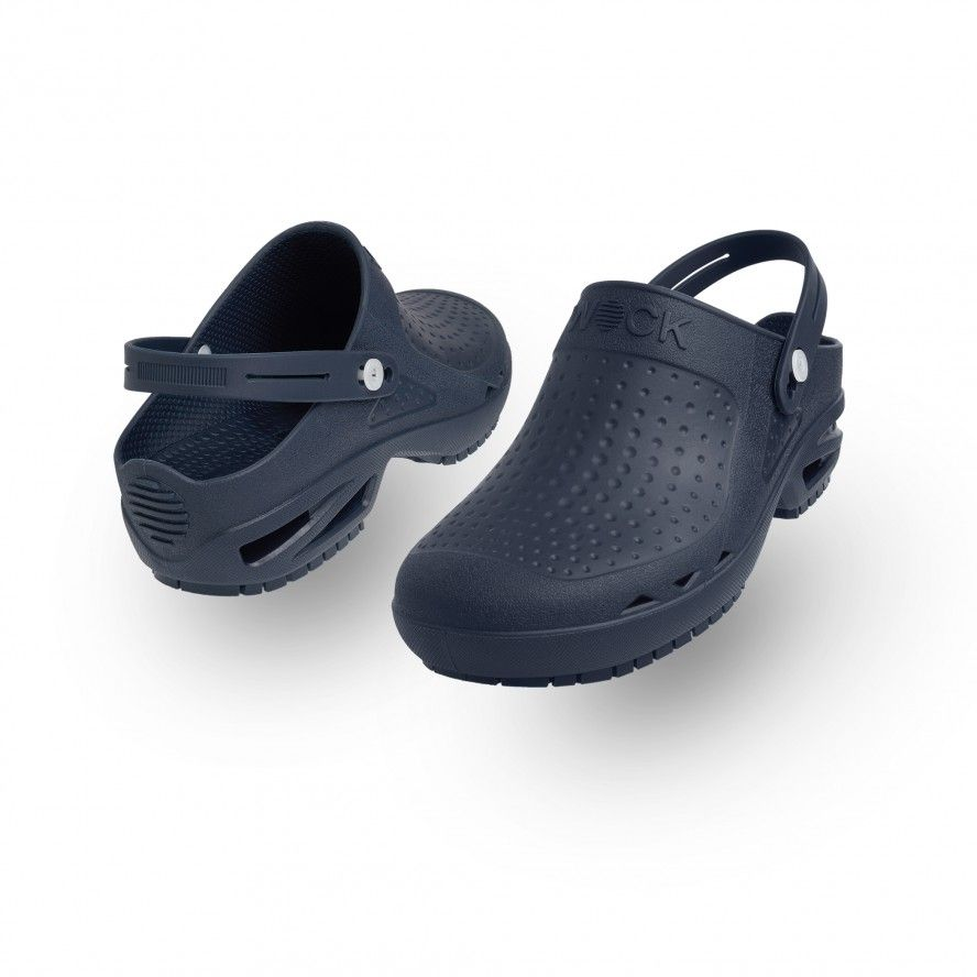 WOCK Navy Blue Theatre Clogs - Men & Women BLOC OPEN 01 w/ Strap
