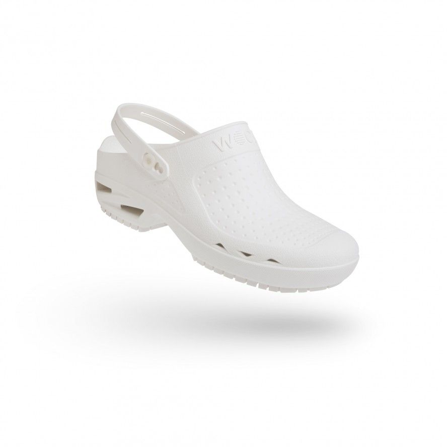 WOCK White Theatre Clogs - Men and Women BLOC OPEN 05 w/ Strap