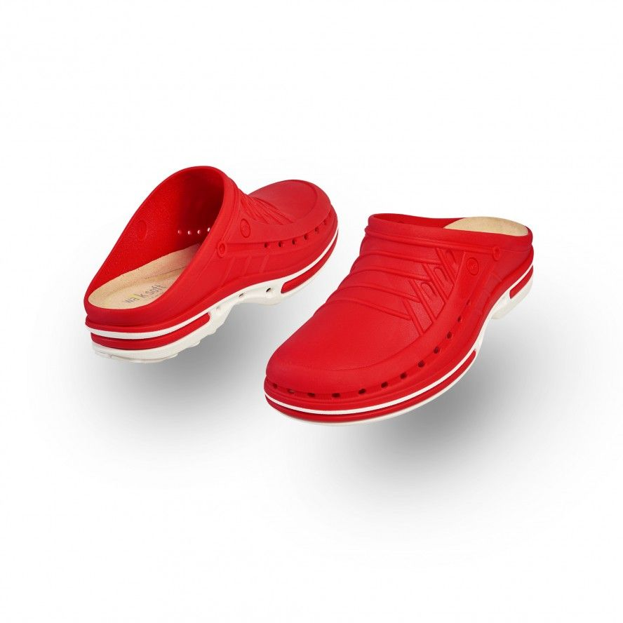 WOCK Red/White Nursing Clogs CLOG 17 w/ Walksoft Insole