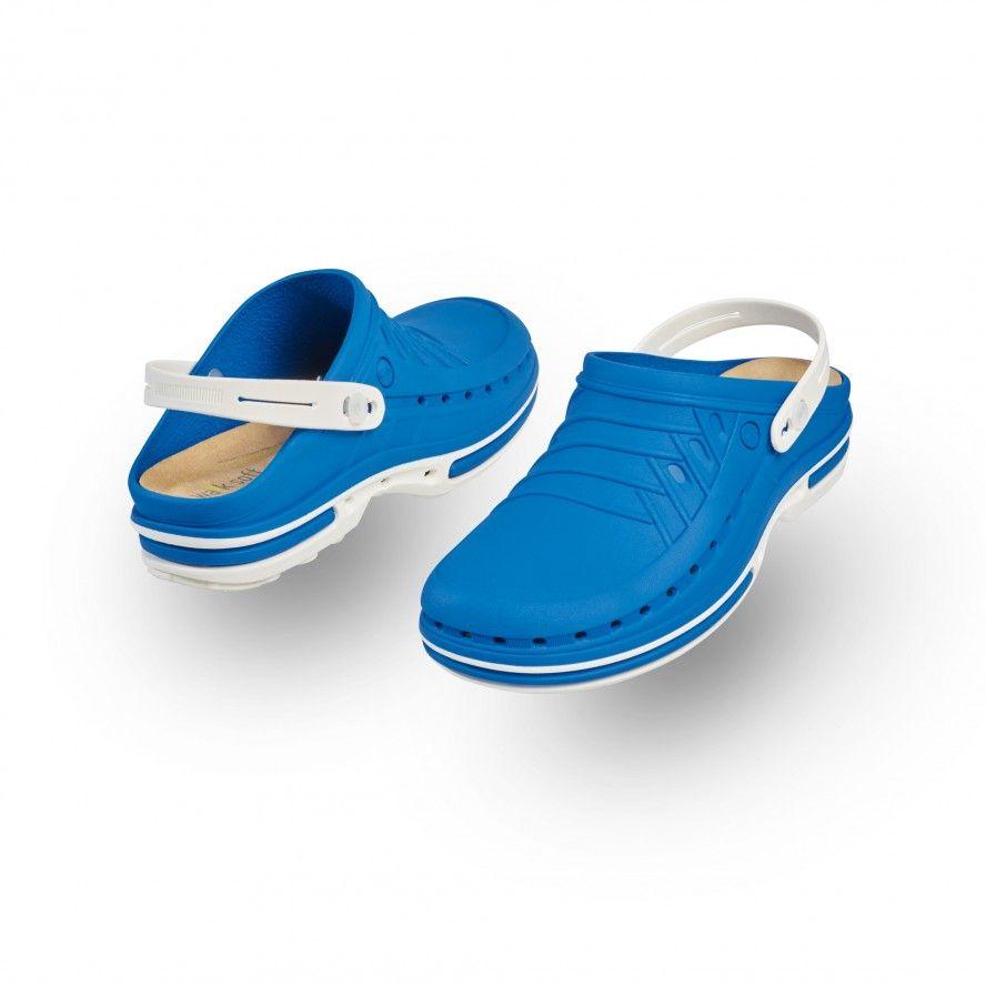 WOCK Zueco Azul y Blanco Clog 07 c/ Tira y Plantilla de Confort