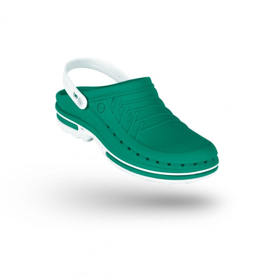 WOCK Green/White Theatre Clogs - Men and Women CLOG 06 w/ strap