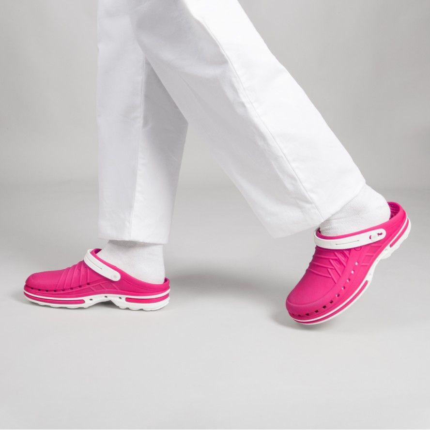 WOCK Pink/White Nursing Clogs CLOG 09 w/ Strap & Comfort Insole
