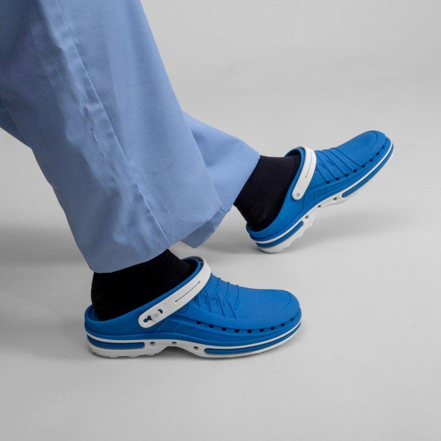 WOCK Blue/White Nursing Clogs CLOG 07 w/ Strap & Comfort Insole