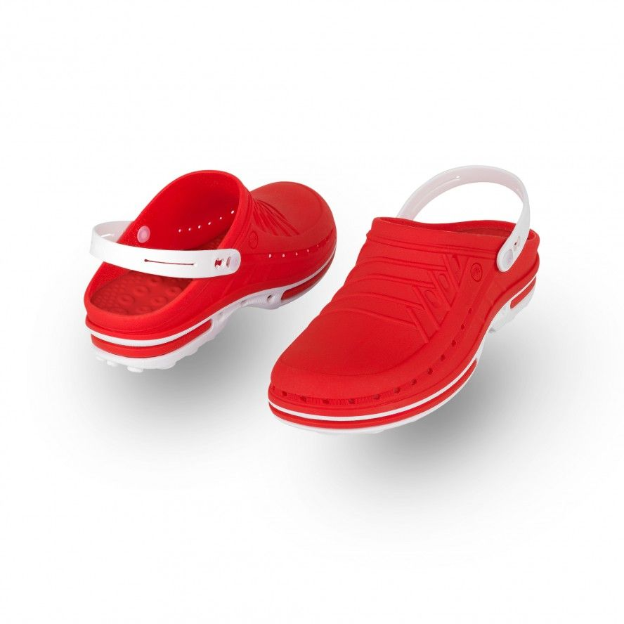 WOCK Red/White Theatre Clogs - Men and Women CLOG 17 w/ strap