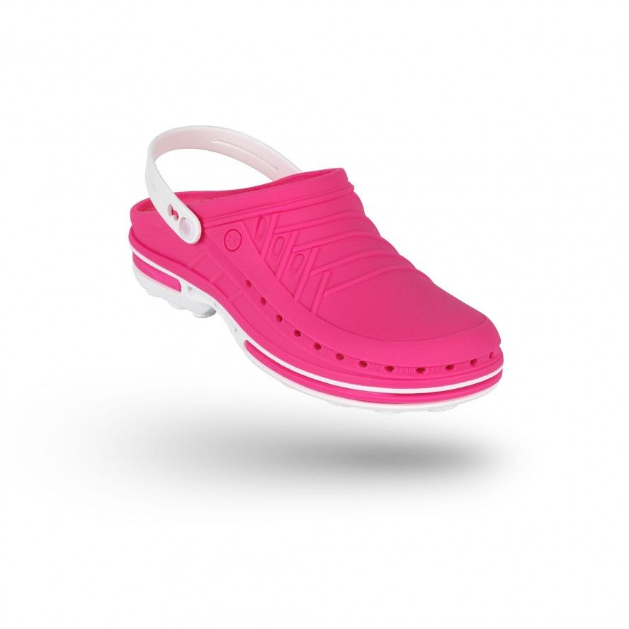 WOCK Pink/White Theatre Clogs - Men and Women CLOG 09 w/ strap