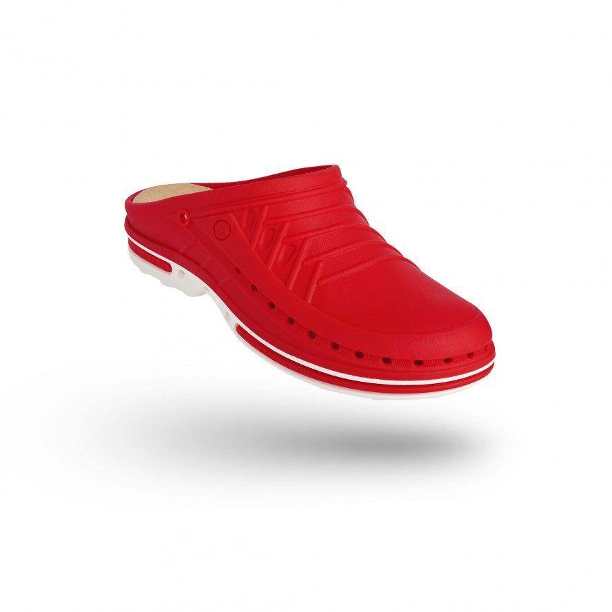 WOCK Zueco Rojo y Blanco Clog 17 c/ Plantilla de Confort