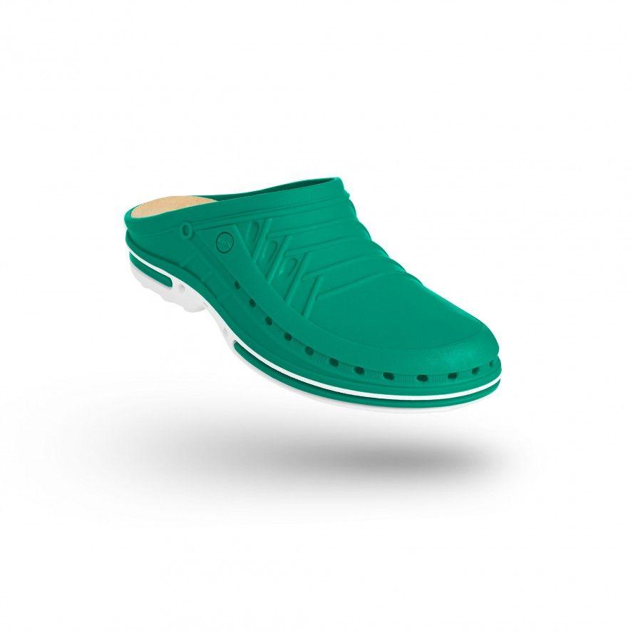 WOCK Green/White Nursing Clogs CLOG 06 w/ Walksoft Insole