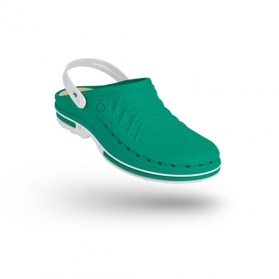WOCK Green/White Nursing Clogs CLOG 06 w/ Strap & Comfort Insole
