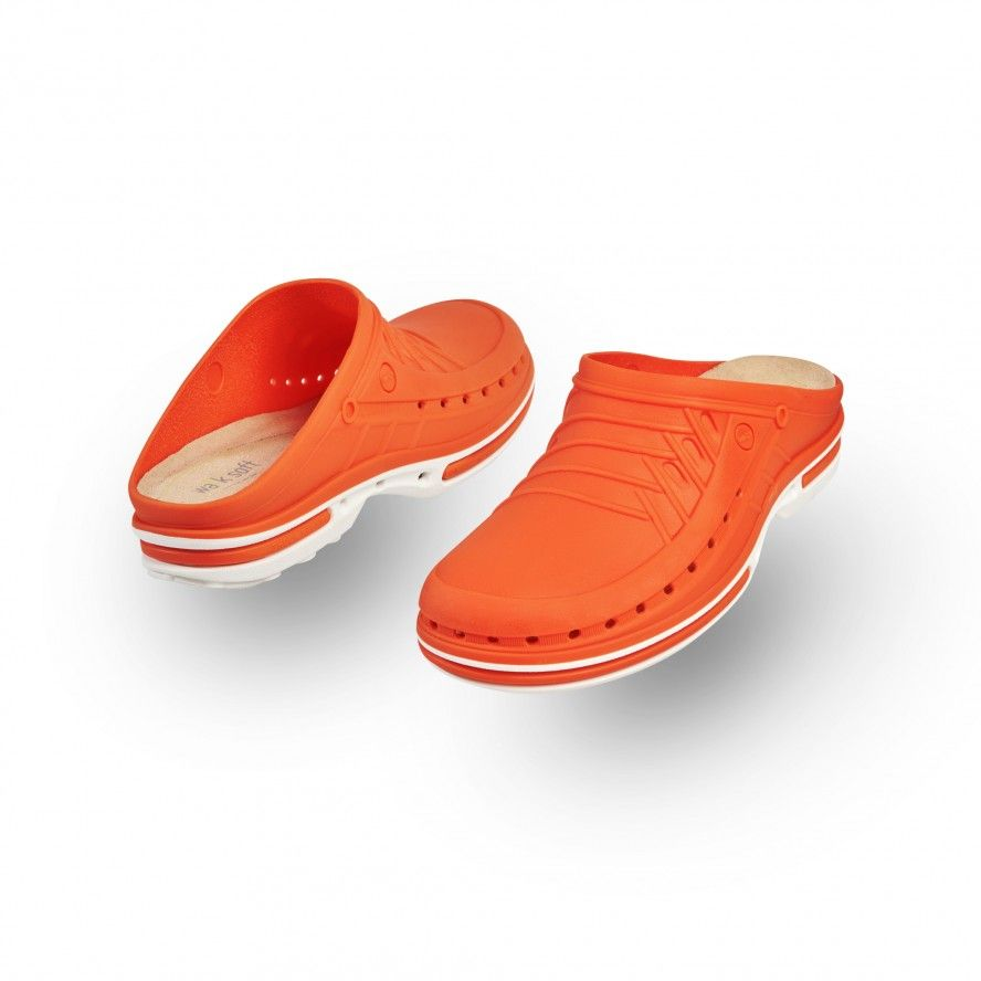 WOCK Orange/White Nursing Clogs CLOG 05 w/ Walksoft Insole