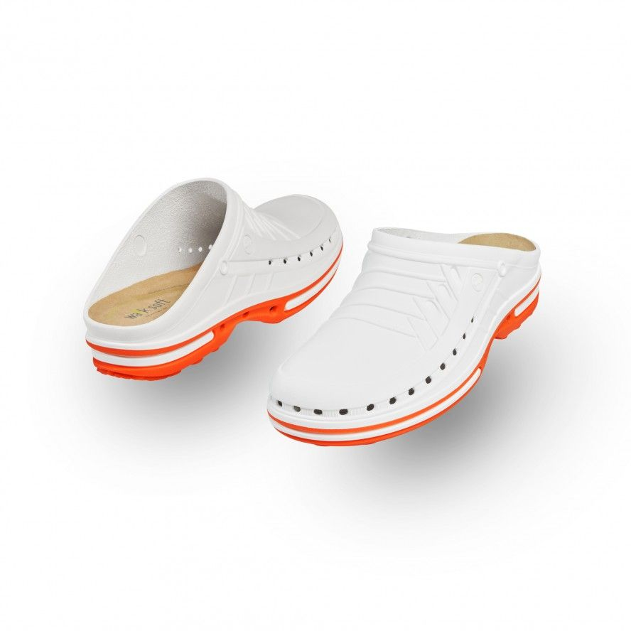 WOCK White/Orange Nursing Clogs CLOG 01 w/ Walksoft Insole