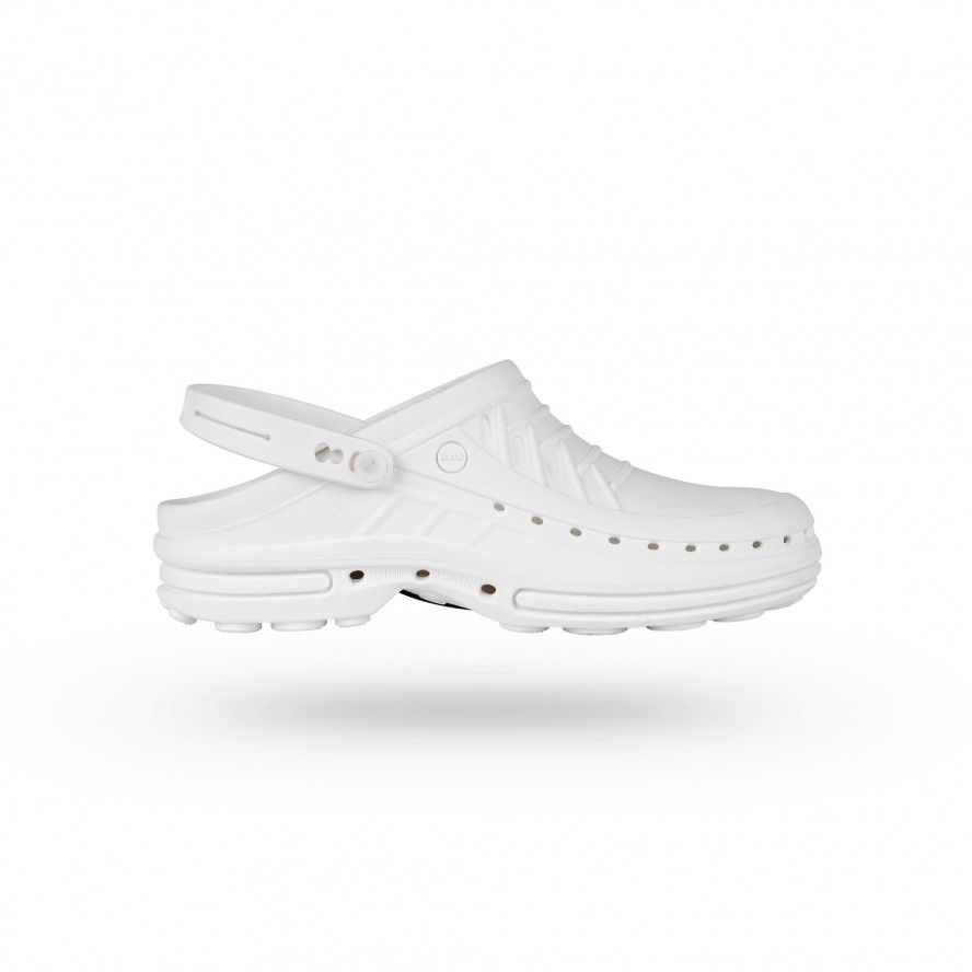 WOCK All White Nursing Clogs CLOG 10 w/ Strap and Comfort Insole