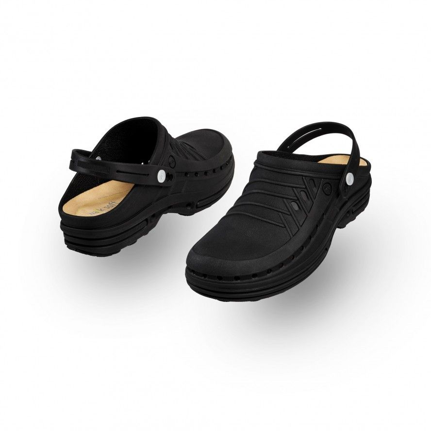 WOCK All Black Nursing Clogs CLOG 11 w/ Strap and Comfort Insole