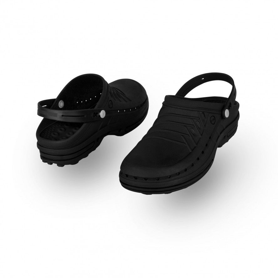 WOCK All Black Theatre Clogs - Men and Women CLOG 11 w/ strap