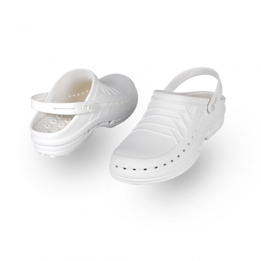 WOCK White Theatre Clogs - Men and Women CLOG 10 w/ strap