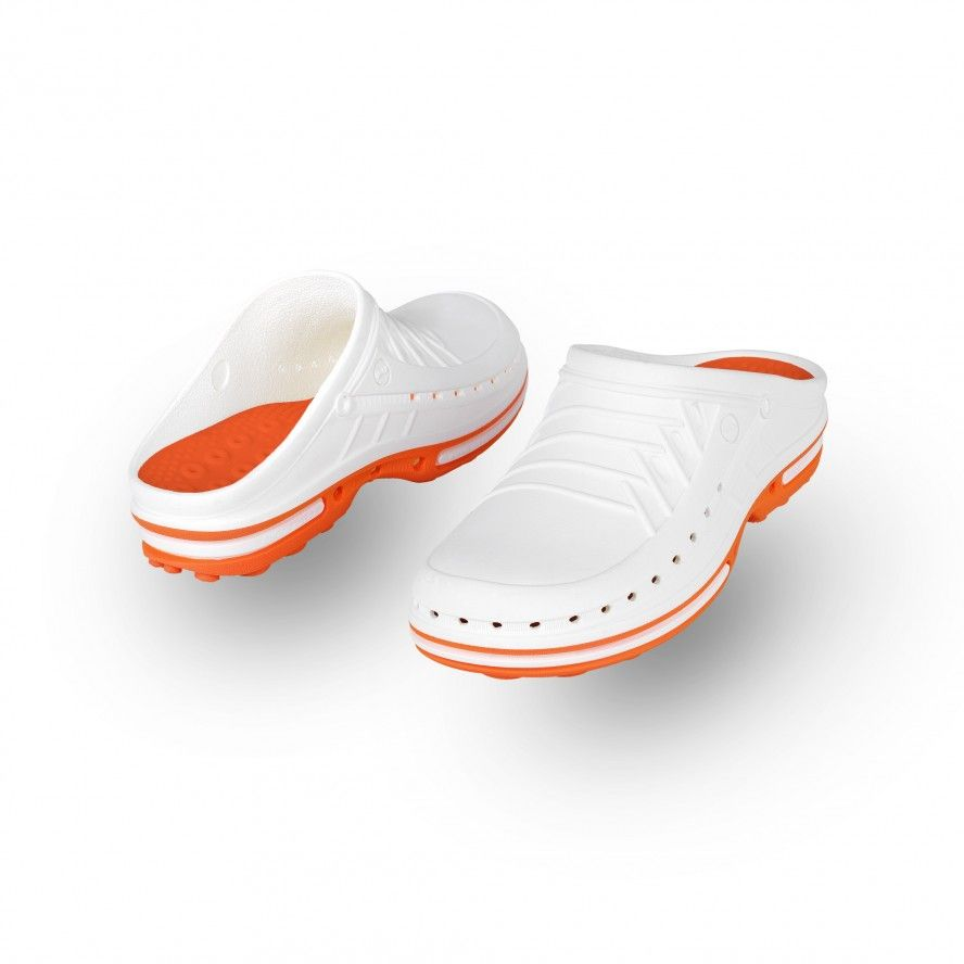 WOCK White/Orange Theatre Clogs - Men and Women CLOG 01