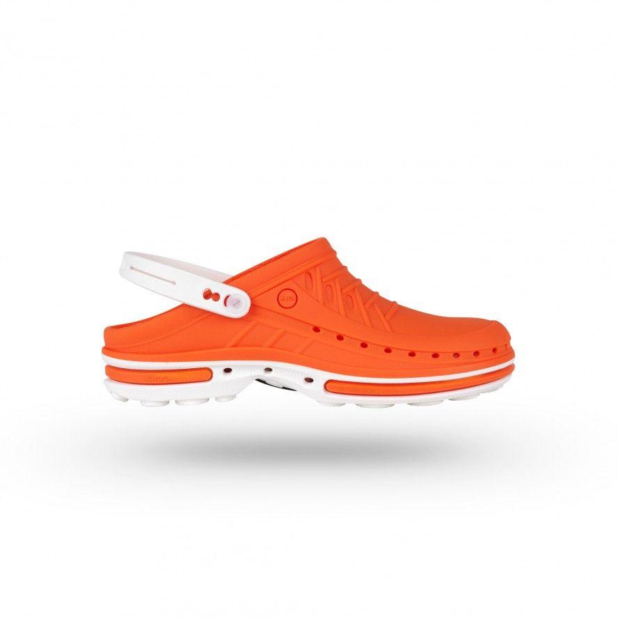 WOCK Zuecos Sanitarios Naranja y Blancos Clog 05 c/ Tira