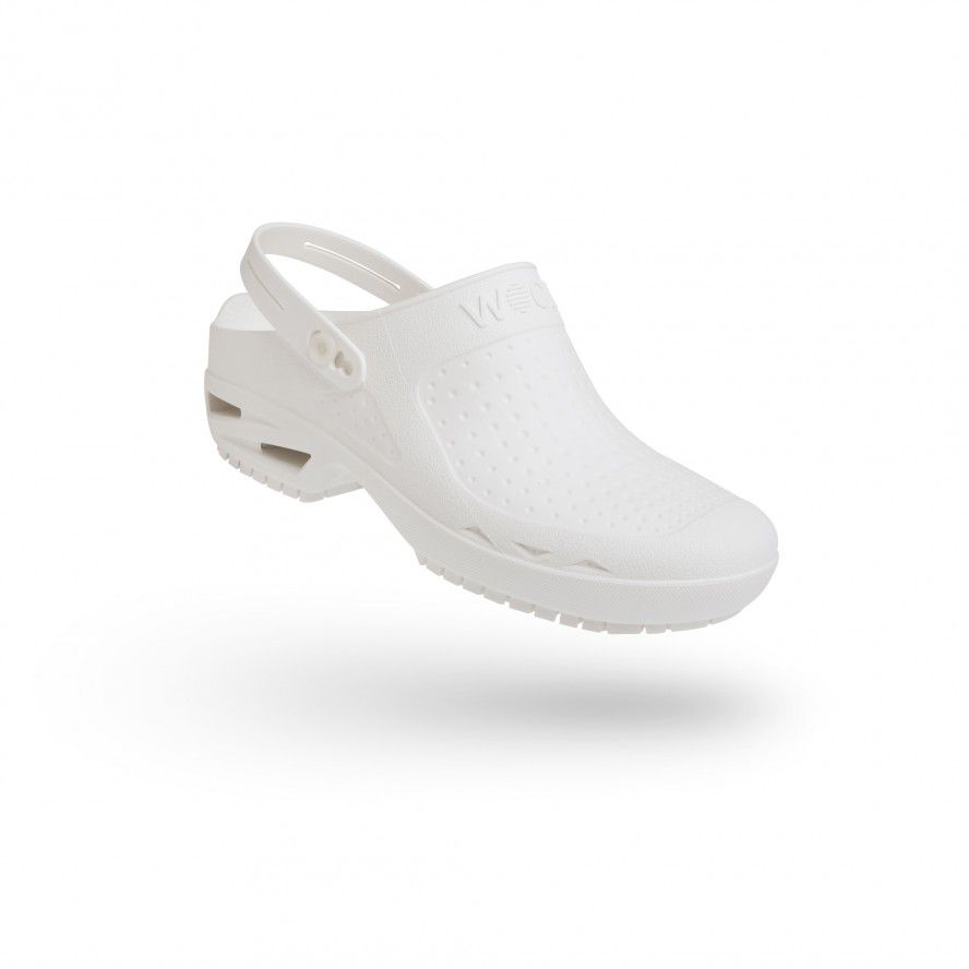 WOCK White Theatre Clogs - Men and Women BLOC CLOSED 05 w/ Strap
